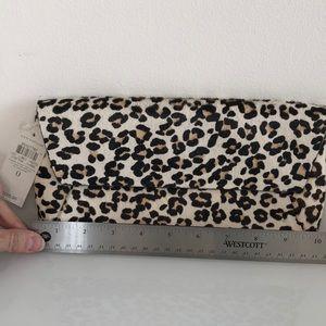Ann Taylor calf hair leopard print clutch